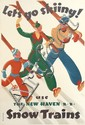 SASCHA MAURER (1897-1961). LET'S GO SKIING! / USE THE NEW HAVEN R.R. SNOW TRAINS. 1936. 42x27 inches, 106x70 cm. McClandish Litho. Cor