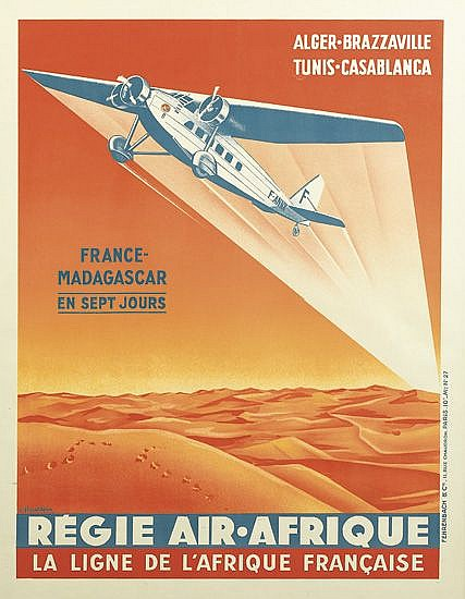 F. HAUDEPIN (DATES UNKNOWN). RÉGIE AIR AFRIQUE. Circa 1936. 31x23 inches, 78x58 cm. Fehrenbach & Cie., Paris.