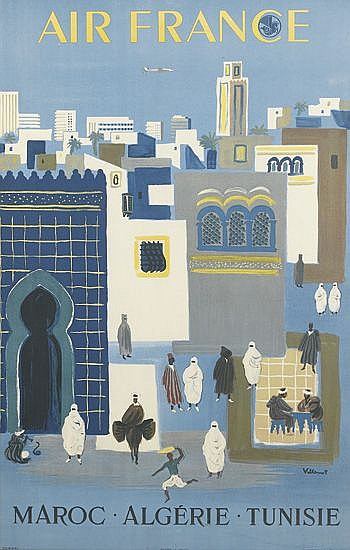 BERNARD VILLEMOT (1911-1989). AIR FRANCE / MAROC - ALGÉRIE - TUNISIE. 1952. 38x24 inches, 98x61 cm. Hubert Baille, Paris.