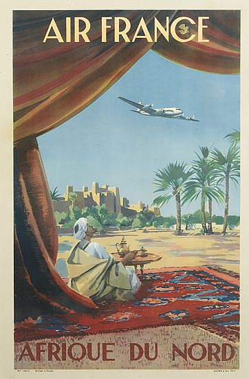 VINCENT GUERRA (DATES UNKNOWN). AIR FRANCE / AFRIQUE DU NORD. 1950 39x29 inches, 101x75 cm. Alépée, Paris.