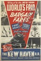 DESIGNER UNKNOWN. DIRECT TO THE NEW YORK WORLD'S FAIR AT BARGAIN FARES / THE NEW HAVEN R.R. 1940. 42x28 inches, 106x71 cm. New York.