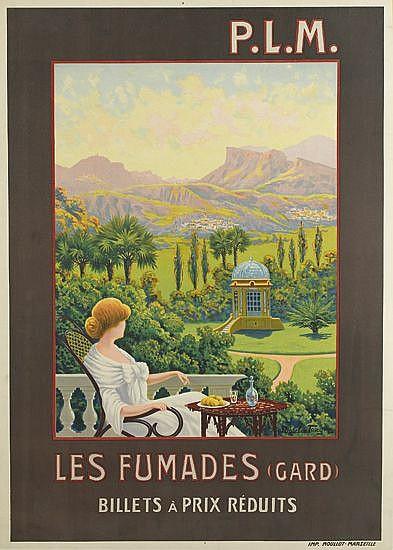 ADELIN CHARLES MOREL DE TANGUY (1857-1930). P.L.M. / LES FUMADES. Circa 1925. 41x29 inches, 105x74 cm. Moullot, Marseille.