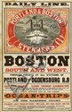 DESIGNER UNKNOWN. DAILY LINE / PORTLAND & BOSTON STEAMERS. Circa 1890. 21x14 inches, 55x38 cm. Rand Avery Supply Co., Boston.