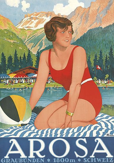 HENEL (DATES UNKNOWN). AROSA. Circa 1930. 49x34 inches, 125x88 cm.