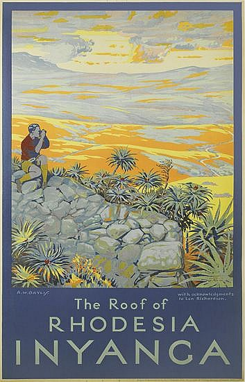 A.W. BAYLIS (DATES UNKNOWN). THE ROOF OF RHODESIA / INYANGA. 1937. 38x24 inches, 97x61 cm. Gov't Lithographie Press for the Dept. of P