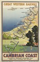 DESIGNER UNKNOWN. GREAT WESTERN RAILWAY / CAMBRIAN COAST. Circa 1925. 39x24 inches, 101x63 cm. Philip Reid, London.
