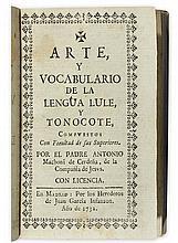 (ARGENTINA.) Machoni de Cerdeña, Antonio. Arte, y vocabulario de la lengua Lule, y Tonocote.