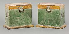 A pair of 'Boxes', Ming dynasty (1368-1644), rectangular, with amber lids and green bodies, held by clasps, 12.7cm (2)