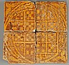 Four encaustic Tiles, medieval, making a circular