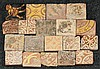 Nineteen miscellaneous encaustic Tiles, 14th-15th