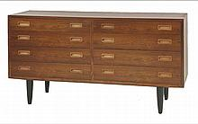 A Danish rosewood eight-drawer chest,  1960s, by Hundevard, on turned legs, branded with Danish