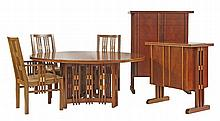 An exceptional inlaid burrwood dining room suite,  designed and manufactured by Jon Shaw,  c