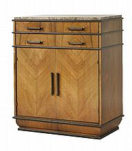 An Art Deco walnut and rosewood cabinet,  with a marble top over four drawers and a cupboard,