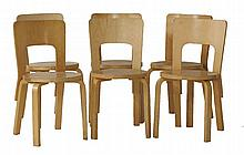 A set of six laminated Model 66 high backed stools,  designed by Alvar Aalto (6)