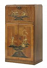 A walnut cocktail cabinet,  with chinoiserie detailing, the hinged top opening to reveal a mirro