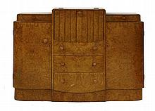 An Art Deco walnut sideboard, the raised central hinged drinks compartment, over three drawers and f