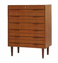 A Danish teak six-drawer chest,  with angular drawer fronts and on turned supports,  77.5cm
