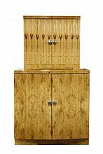 A burr maple finish two-tier cocktail cabinet,  in the Art Deco style with a slight bow front, w