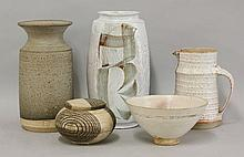 Studio Pottery,  a pot and cover,   by Christopher Jenkins, with incised banding,  13cm