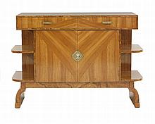 An Art Deco walnut side cabinet,   with two drawers over a cupboard, flanked with two shelves, o