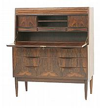 A Danish rosewood bureau,  by Ib Kofod Larsen, 1960s, with two top frieze drawers released with
