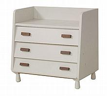 A childÉs white painted three-drawer chest,  with angular front drawers and a high back,  71