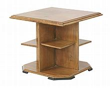 An Art Deco walnut occasional table,  the square top over shelves, on an octagonal plinth, with