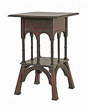 A walnut lamp table,  the beadwork edge over a single drawer, arcaded gallery on splayed legs, w