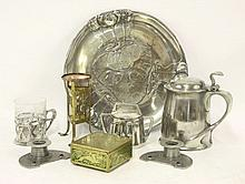 A Kayersinn pewter tray,   a beaker with glass sleeve,  a pot and cover,  a tankard,
