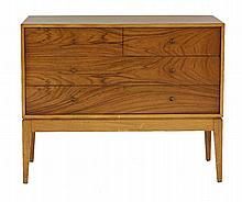 A teak and walnut chest of four drawers,  by Uniflex Unit Furniture,  91.5cm wide  45.5c