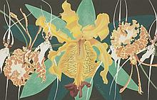 Lorna de Gallegos (Contemporary)  'BUTTERFLY, COWHORN AND SPIDERS ORCHIDS'  Signed, gouache