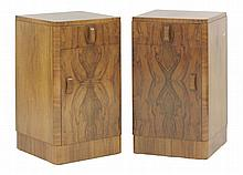 A pair of Art Deco walnut pot cupboards,  each with a single drawer over a cupboard,  36cm w