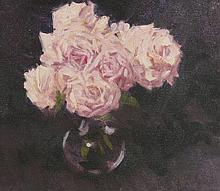 *George Devlin RSW (1937-2014)  'LATE SUMMER ROSES'  Signed l.r., oil on canvas  35 x 40