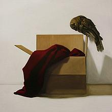 Dorion Scott  OWL AND BOX  Oil on canvas  122 x 122cm