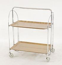 A chrome and plywood moulded folding two-tier tea trolley,  West German, Gerlinol,  64.5cm l