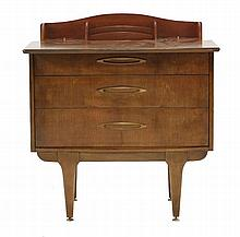 An unusual teak writing desk,  the top pulling foward to reveal a rise/fall letter rack and lidd