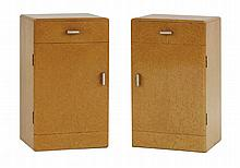 A pair of bird's-eye maple bedside cabinets,  each with a single drawer and cupboard below