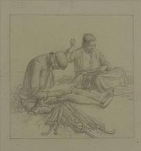 *Robert Sargent Austin RA (1895-1973)  A COUPLE SEATED, HE READING, SHE SEWING  Pencil, with
