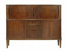 A walnut high sideboard,  with a slight bow front with a tambour cupboard revealing a shelf and