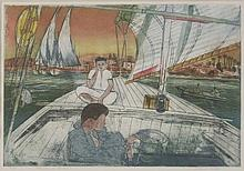 *Richard Bawden (b.1936)  'FELUCCA ON THE NILE'  Etching and aquatint, signed, inscribed wit