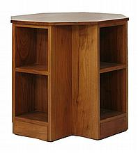 A walnut octagonal book table,  by Gordon Russell, the plain top over two shelves on four sides,