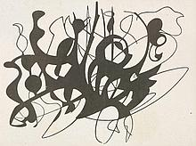 *David Carr (1915-1968)  MONOCHROME ABSTRACT FORMS  Oil on board  90 x 122cm
