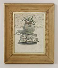 *Peter Evans (b.1943)  'JILLS POT AND SHIRLEYS ASHTRAY'  Signed l.r., signed and inscribed v