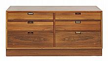 A rosewood six-drawer chest,  with sprung drawers and brass stops, three missing, stamped 'MADE