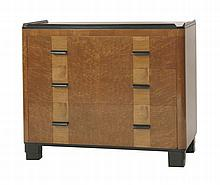 An Art Deco bird's-eye maple chest of three drawers,  with raised ebonised edges, maple inlay an