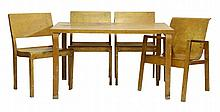 An Alvar Aalto table,   the rectangular top, with damage,  and four chairs (5)