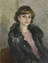 Russian School, 20th century  PORTRAIT OF A LADY IN A BLUE FUR COAT   Indistinctly signed an