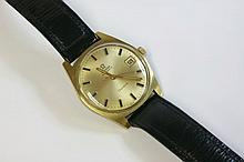 A gentlemen's gold-plated Omega Automatic GenŠve strap watch, c.1960,  the case 34mm diameter, w