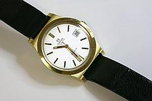 A gentlemen's gold-plated Omega Automatic GenŠve strap watch, c.1970,  the case 37mm diameter, w
