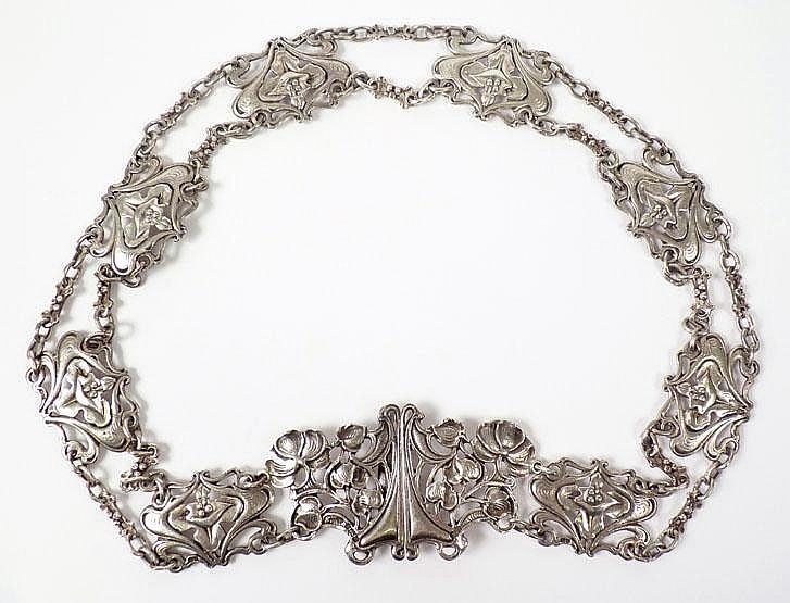 A ladies sterling silver Art Nouveau belt,